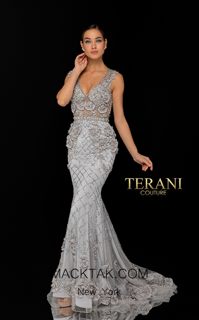 Terani Couture 1722GL4488 Silver Front Dress