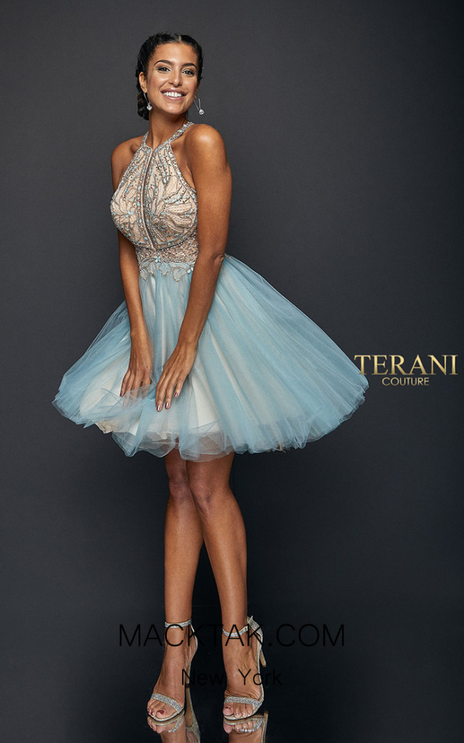 Terani Couture 1821H7929 Dusty Blue Front Dress