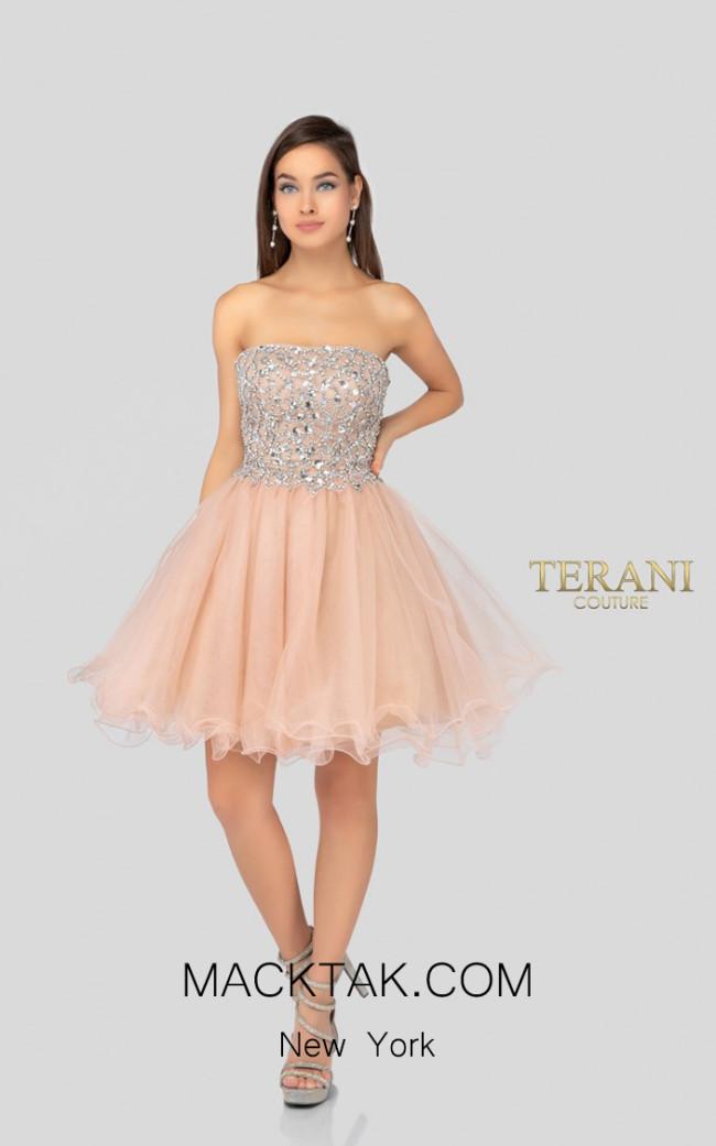 Terani Couture 1911P8016 Blush Nude Front Dress