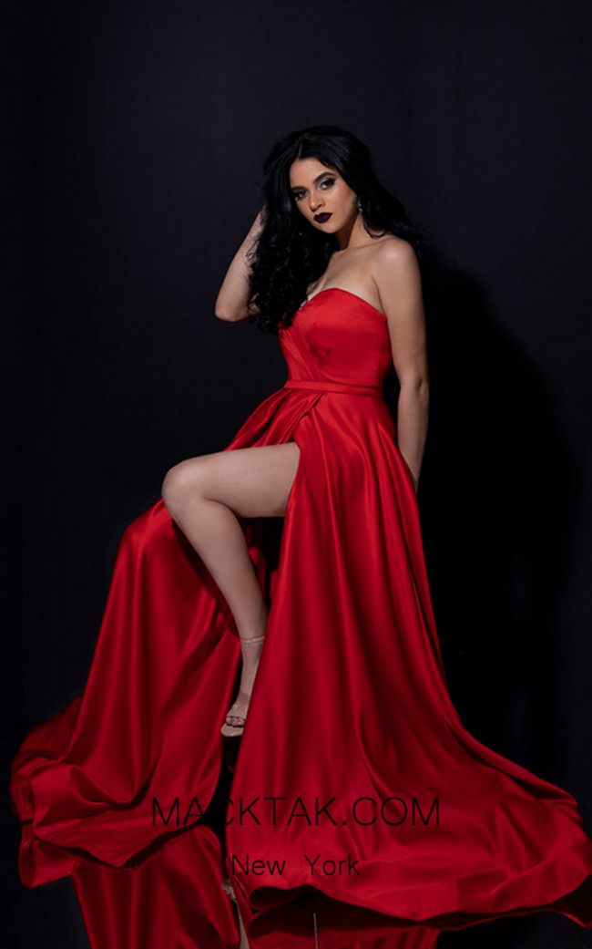 Terani Couture 1911P8179 Red Front Dress