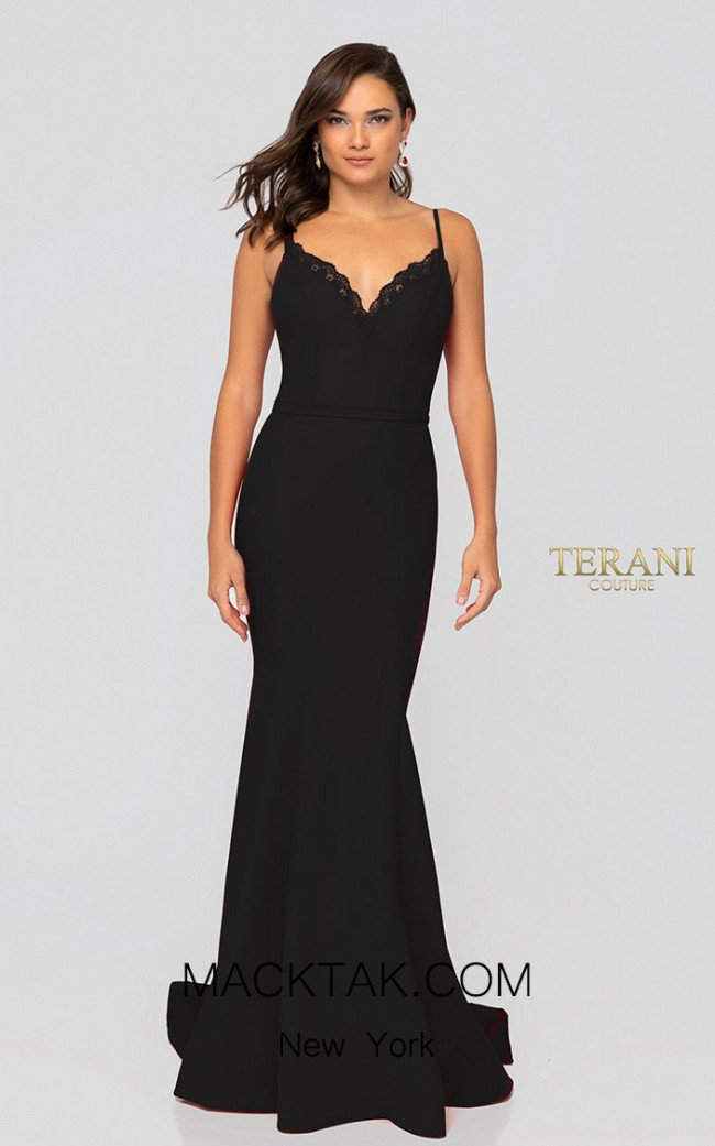 Terani Couture 1912P8219 Black Front Dress