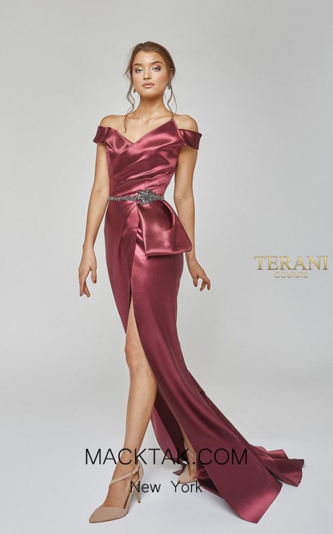 Terani Couture 1921E0107 Wine Front Dress