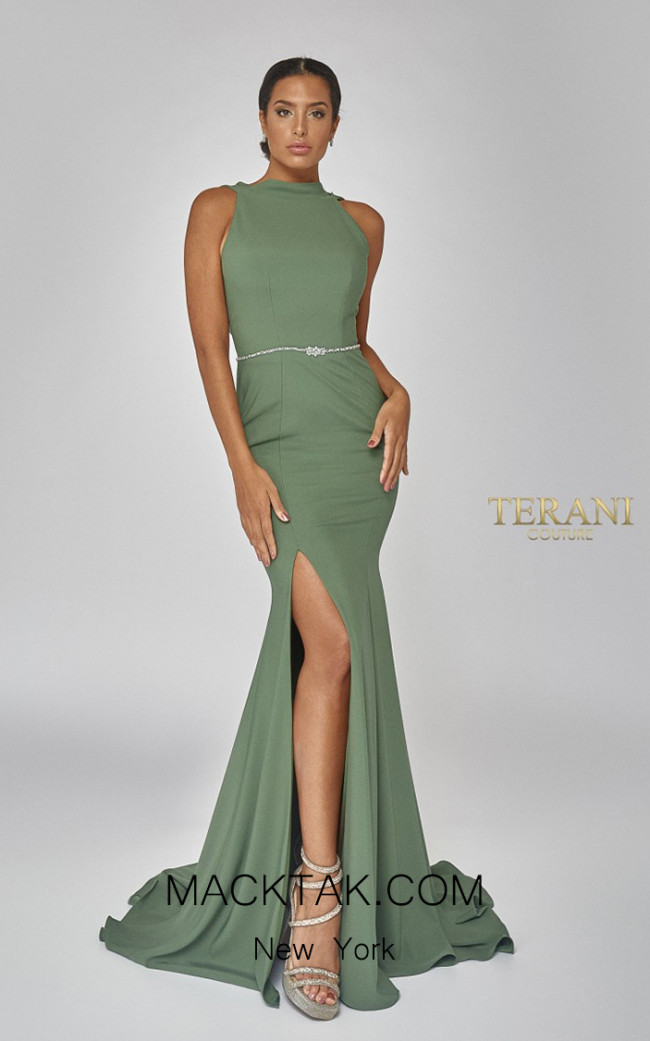 Terani Couture 1921E0145 Olive Front Dress