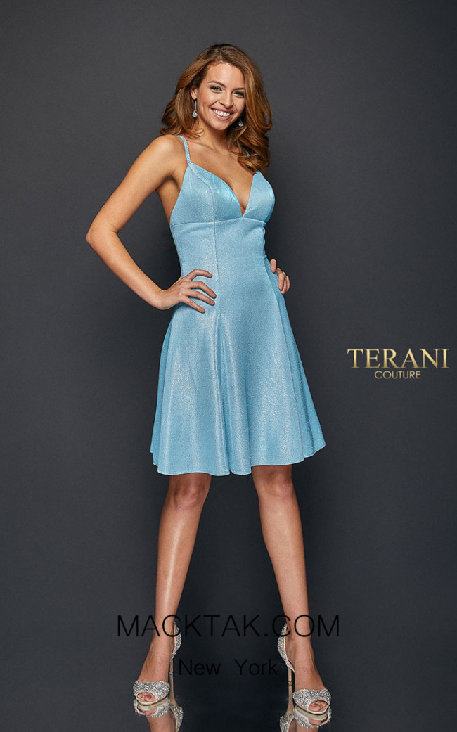 Terani Couture 1921H0336 Gunmetal Silver Front Dress