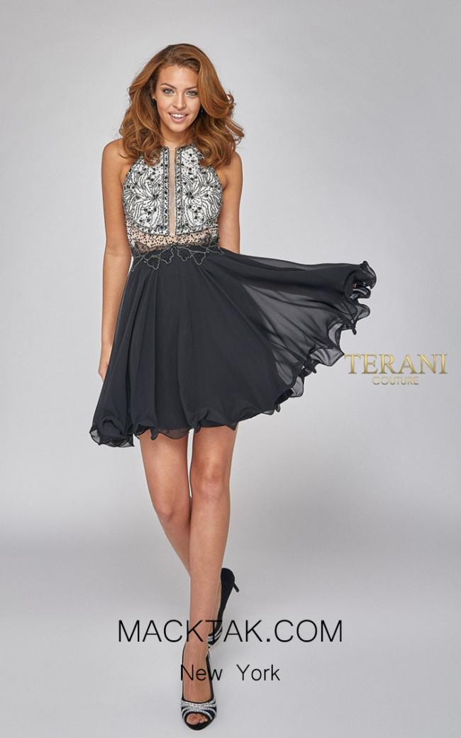 Terani Couture 1921H0407 Black White Front Dress