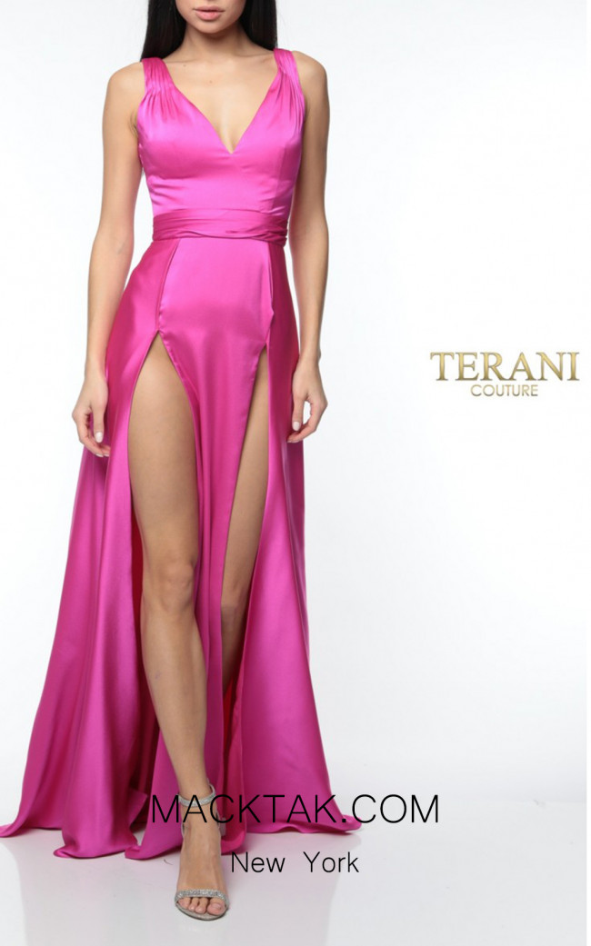 Terani Couture 1922E0206 Fuchsia Front Dress