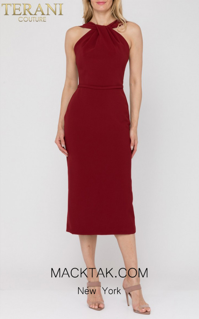 Terani Couture 1922E0234 Wine Front Dress