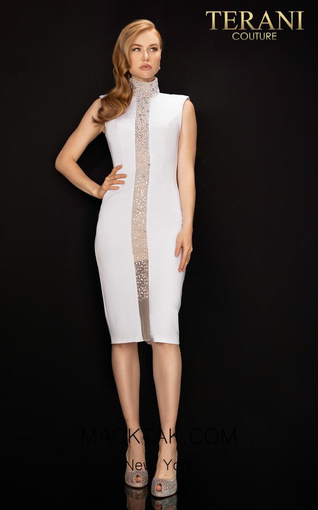 Terani 2011C2006 White Nude Front Dress