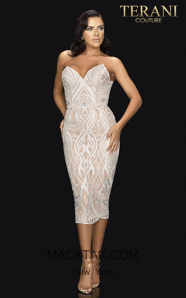 Terani 2011C2008 Ivory Nude Front Dress