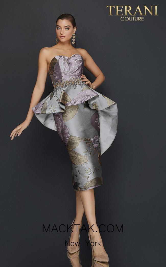 Terani 2011C2023 Taupe Rose Front Dress