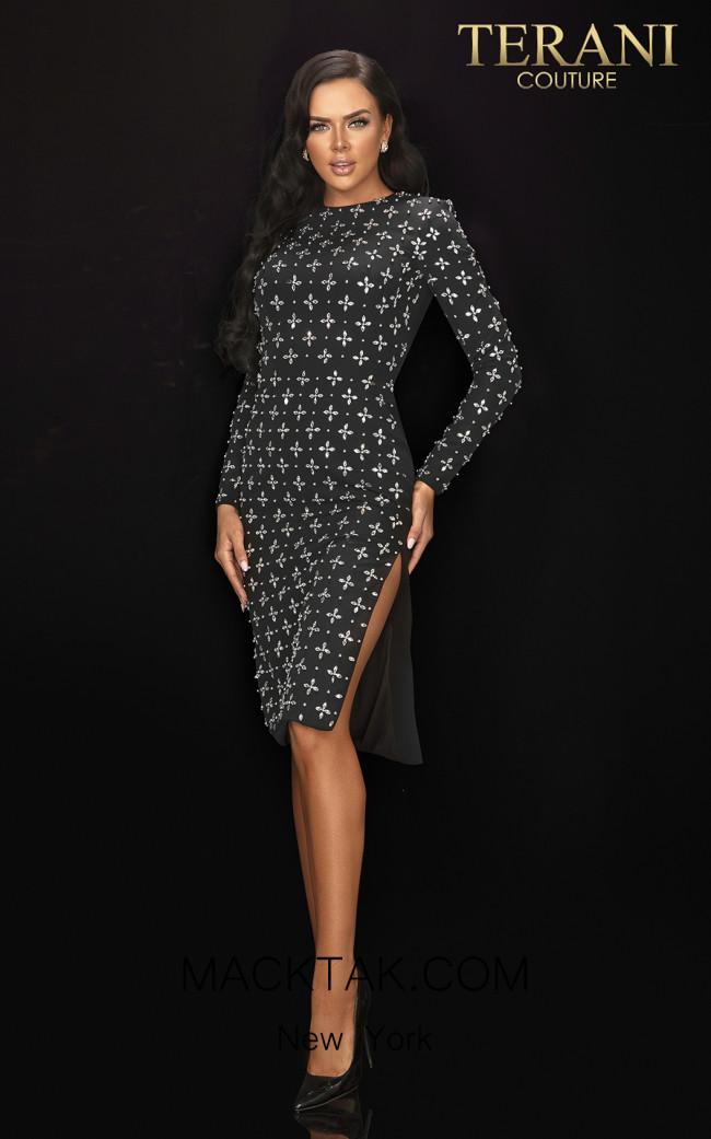 Terani 2011C2025 Black Front Dress