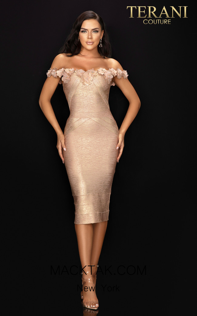 Terani 2011C2519 Rose Gold Front Dress