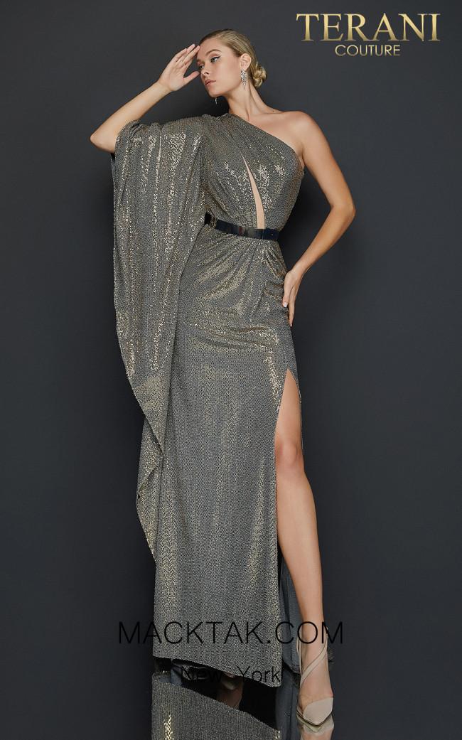 Terani 2011E2055 Gold Black Front Dress