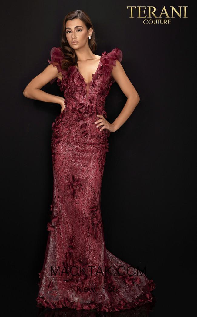 Terani 2011E2060 Wine Front Dress