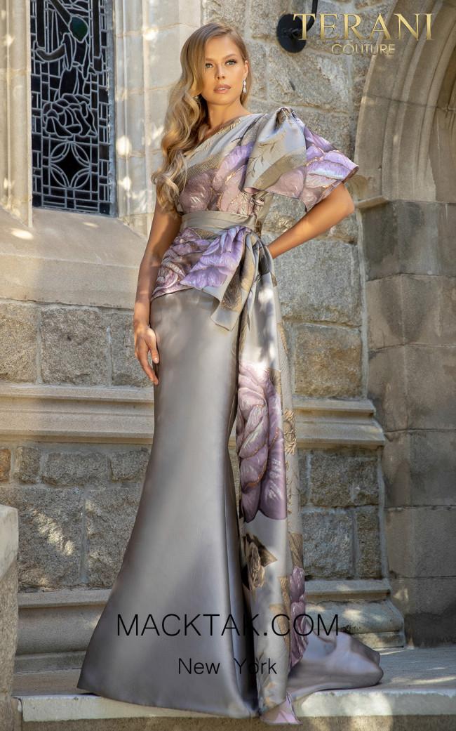 Terani 2011E2100 Taupe Rose Front Dress
