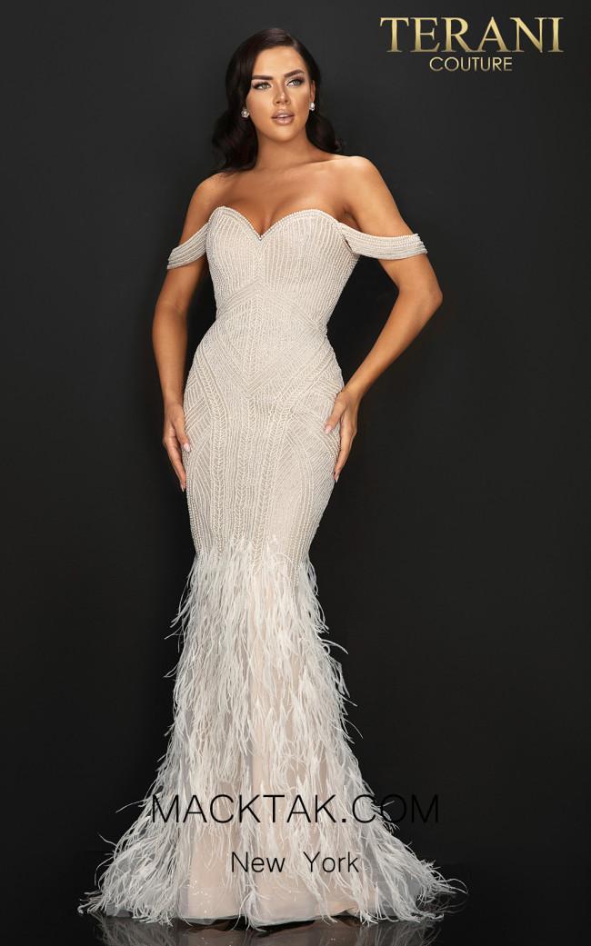 Terani 2011GL2175 Silver Pearl Front Dress
