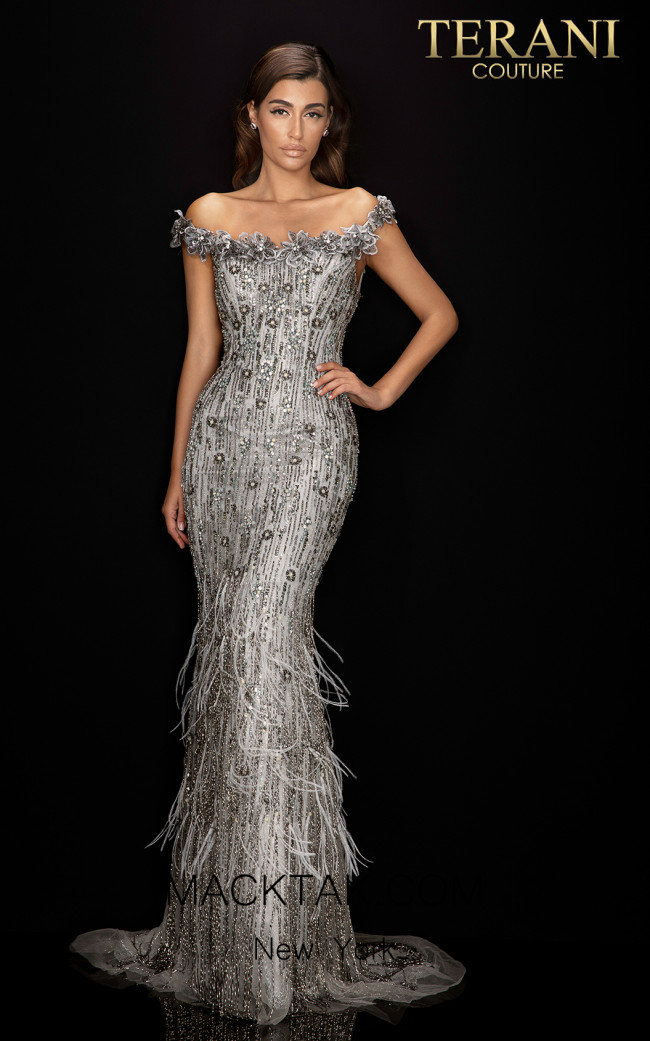 Terani 2011GL2176 Silver Front Dress