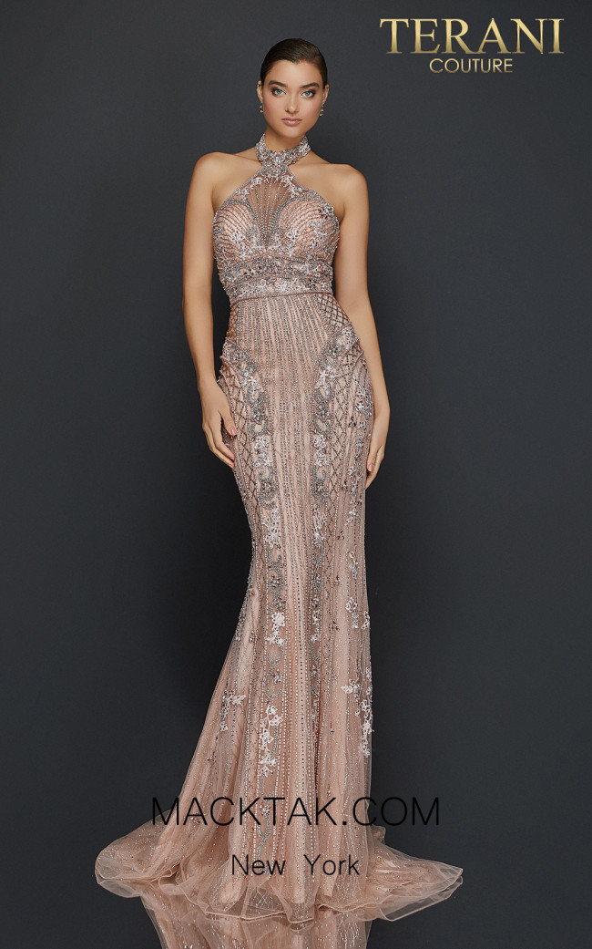 Terani 2011GL2182 Blush Silver Front Dress