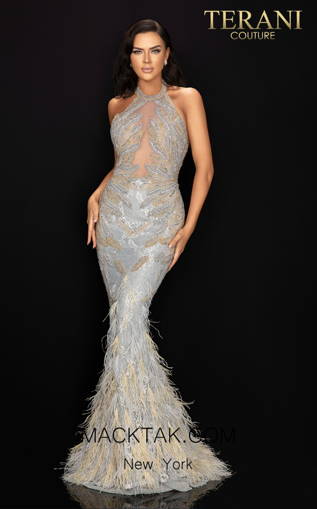 Terani 2011GL2211 Gunmetal Cream Front Dress