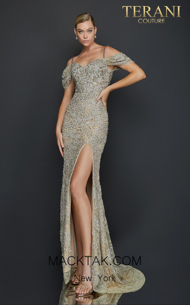 Terani 2011GL2213 Taupe Silver Front Dress