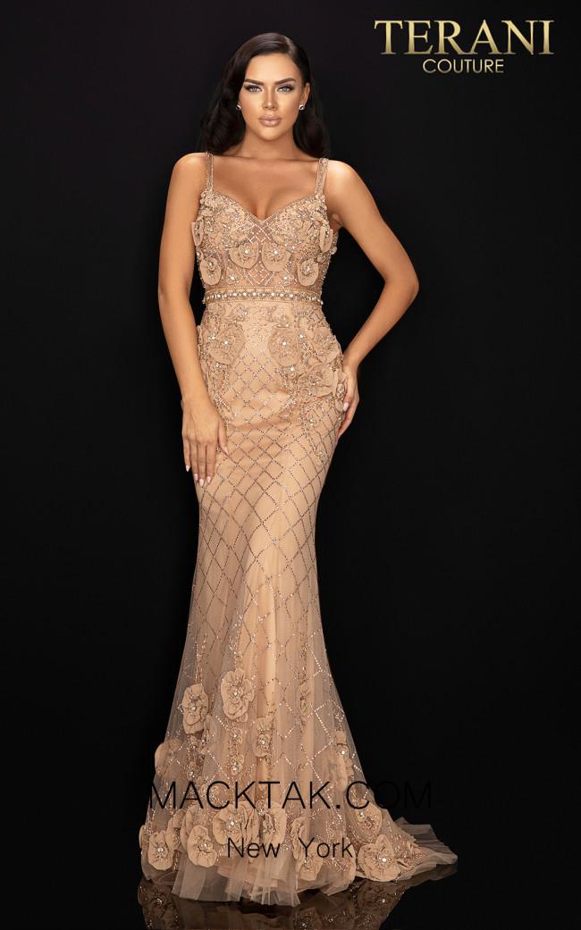 Terani 2011GL2216 Champagne Blush Front Dress