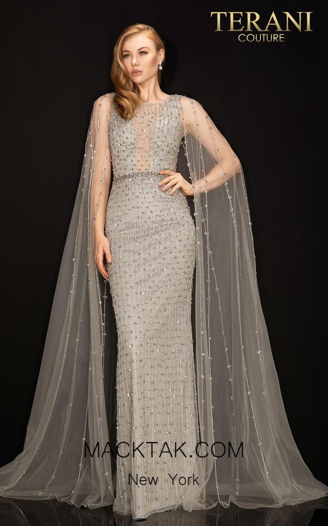 Terani 2011GL2217 Silver Front Dress