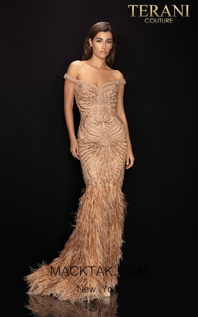 Terani 2011GL2221 Champagne Bronze Front Dress
