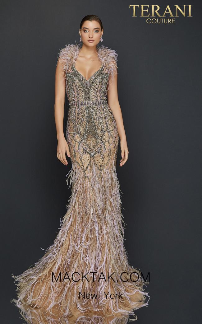 Terani 2011GL2423 Taupe Lavender Front Dress