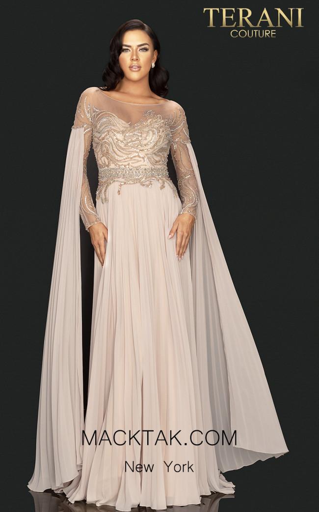 Terani 2011M2117 Champagne Front Dress