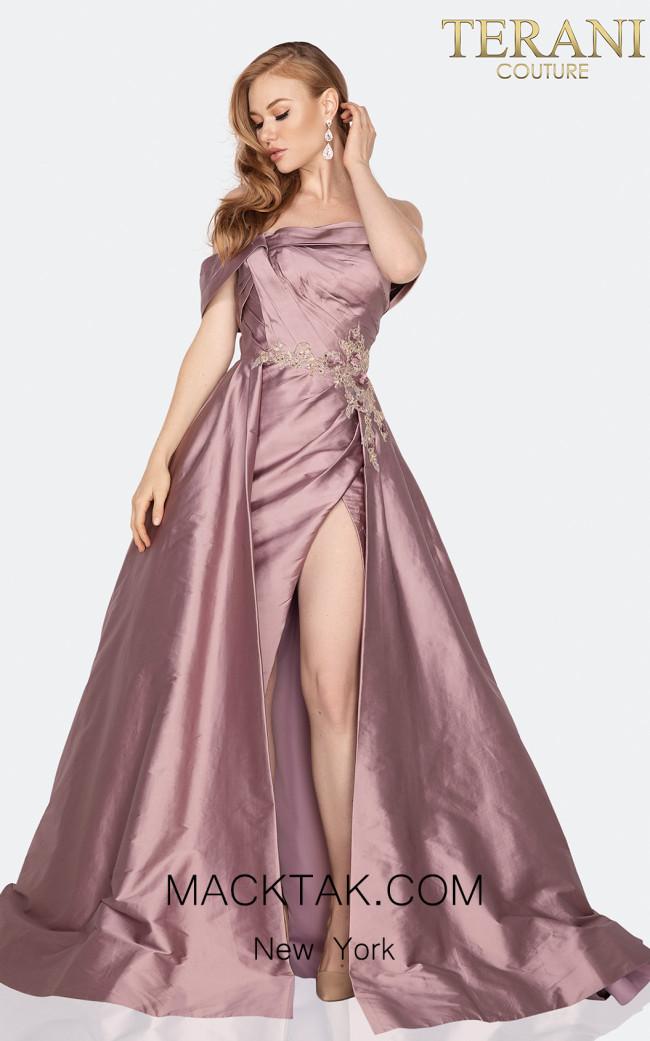 Terani 2011M2119 Mink Front Dress