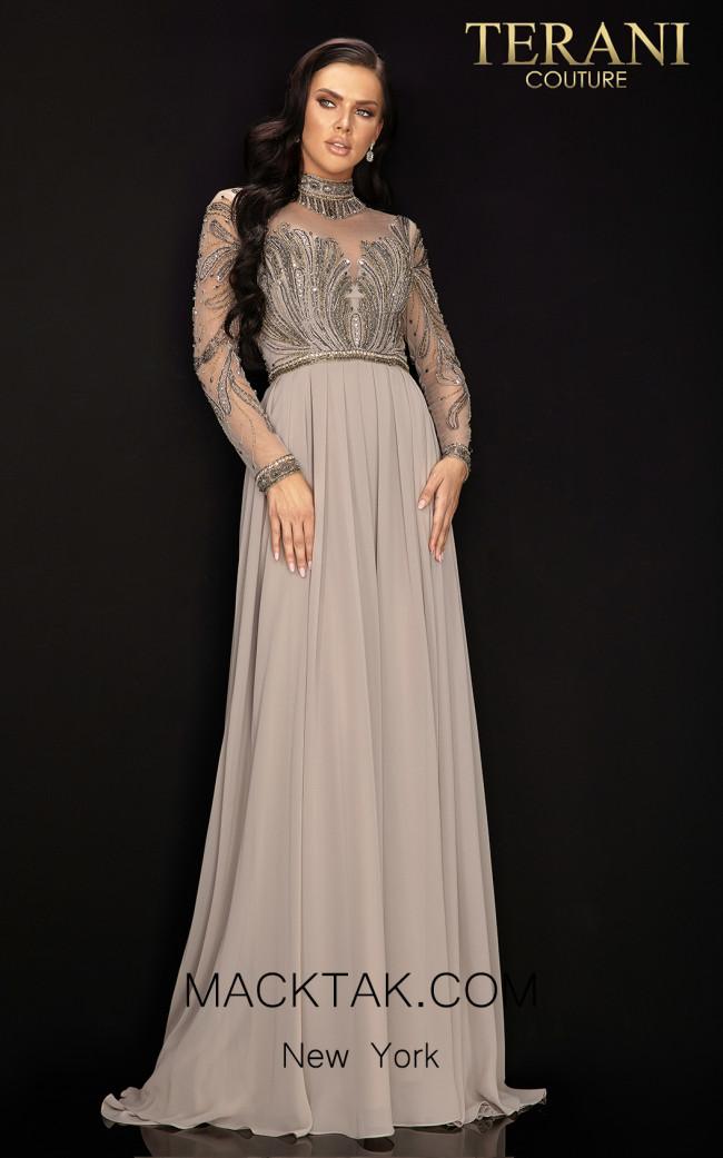 Terani 2011M2126 Mocha Front Dress