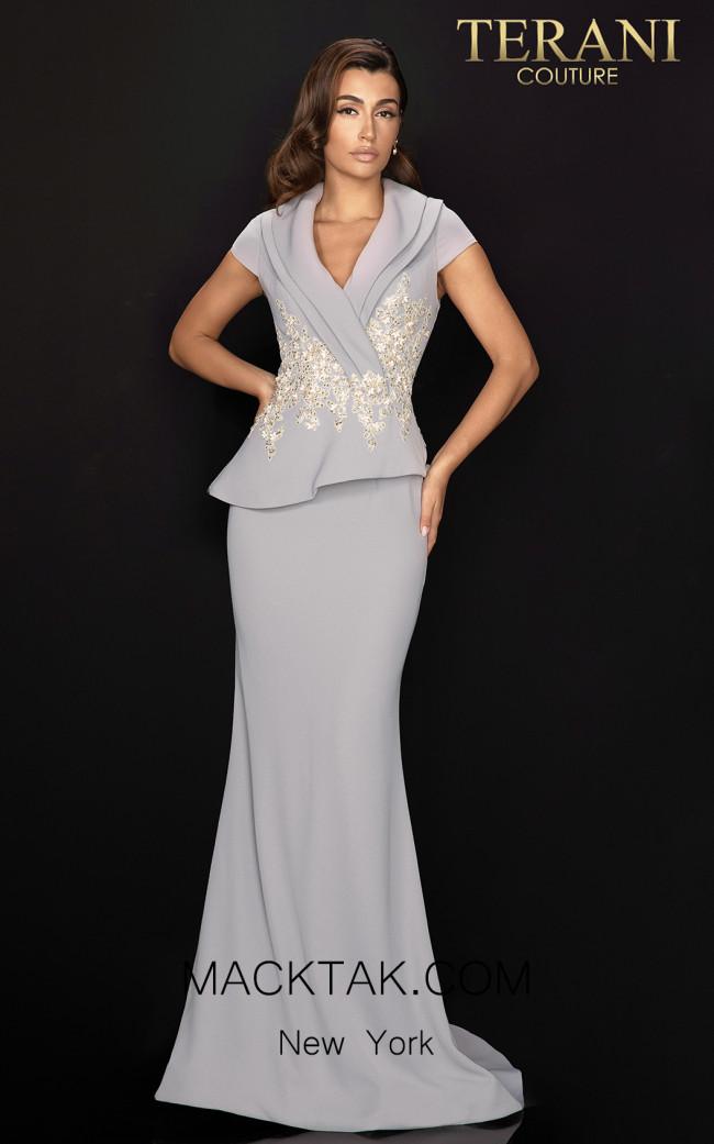 Terani 2011M2135 Silver Front Dress