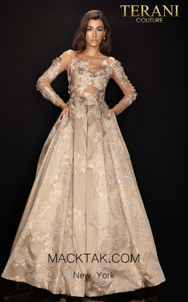 Terani 2011M2149 Bronze Front Dress