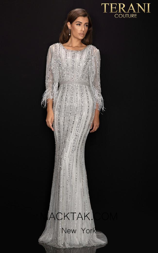 Terani 2011M2462 Silver Front Dress