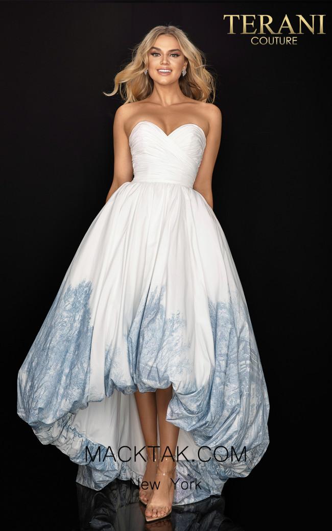 Terani 2011P1003 White Silver Front Dress