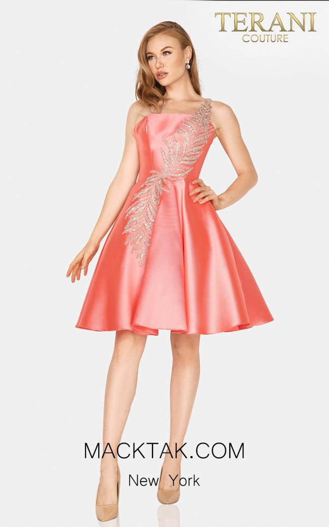 Terani 2011P1021 Coral Front Dress