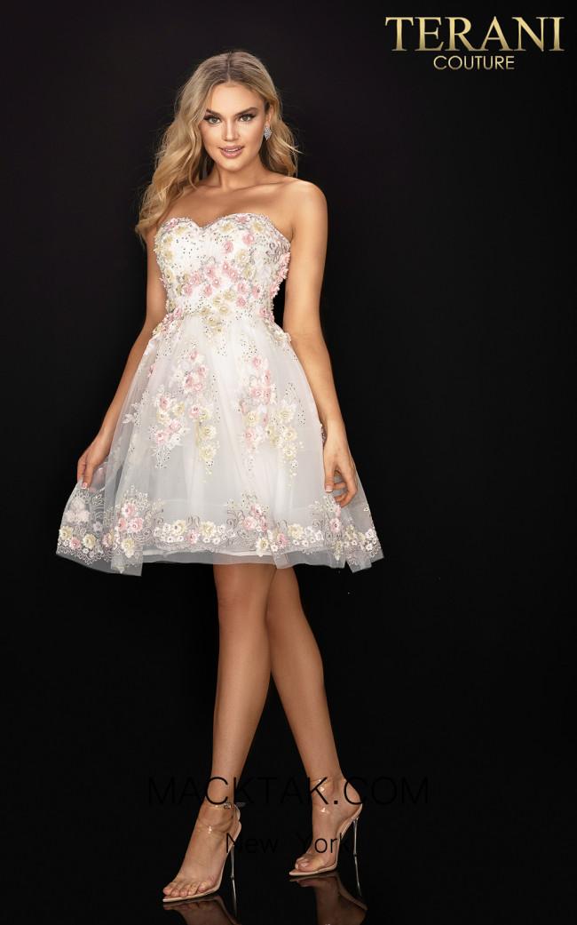 Terani 2011P1025 Ivory Multi Front Dress