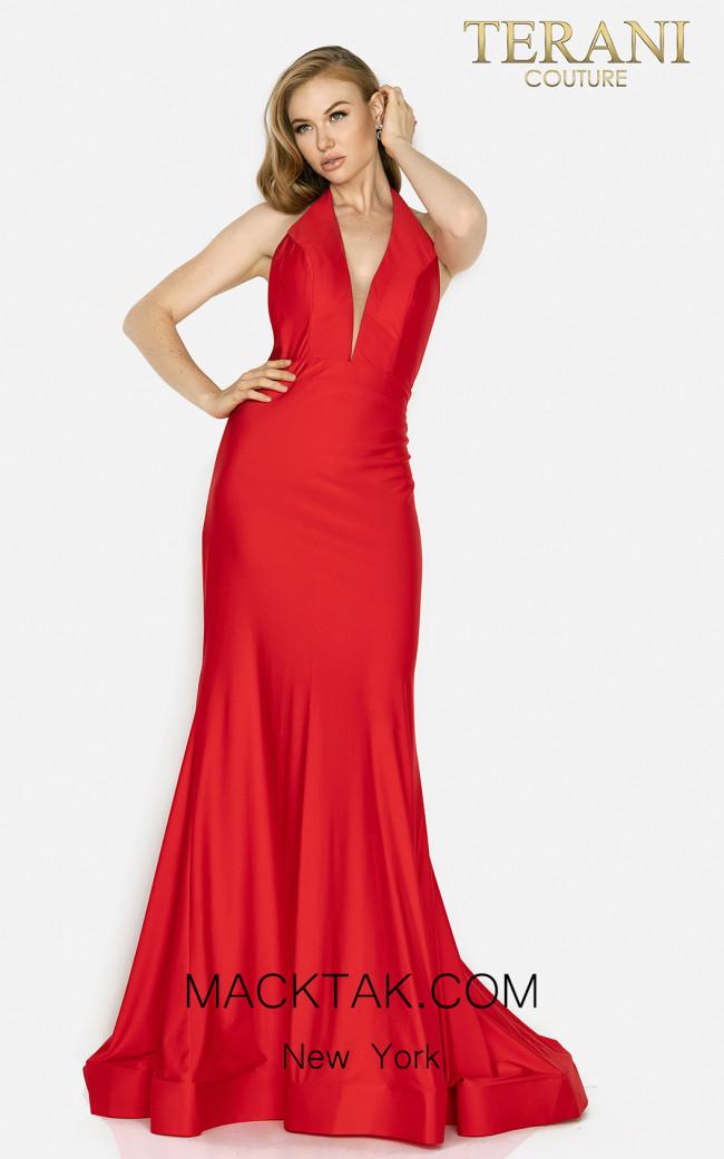 Terani 2011P1037 Red Front Dress