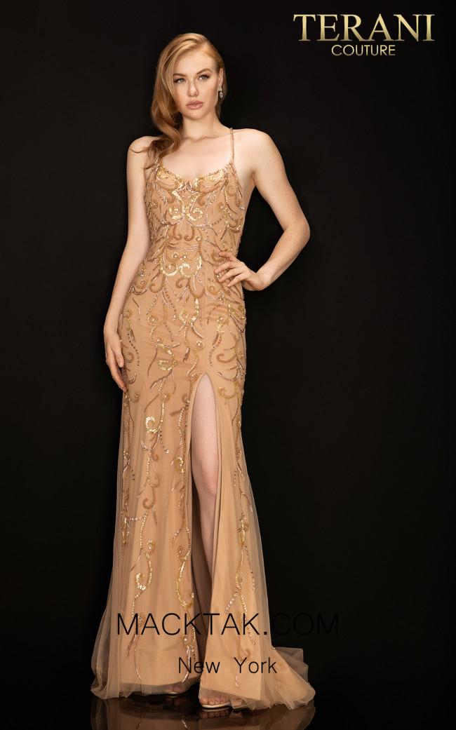 Terani 2011P1046 Mocha Gold Nude Front Dress