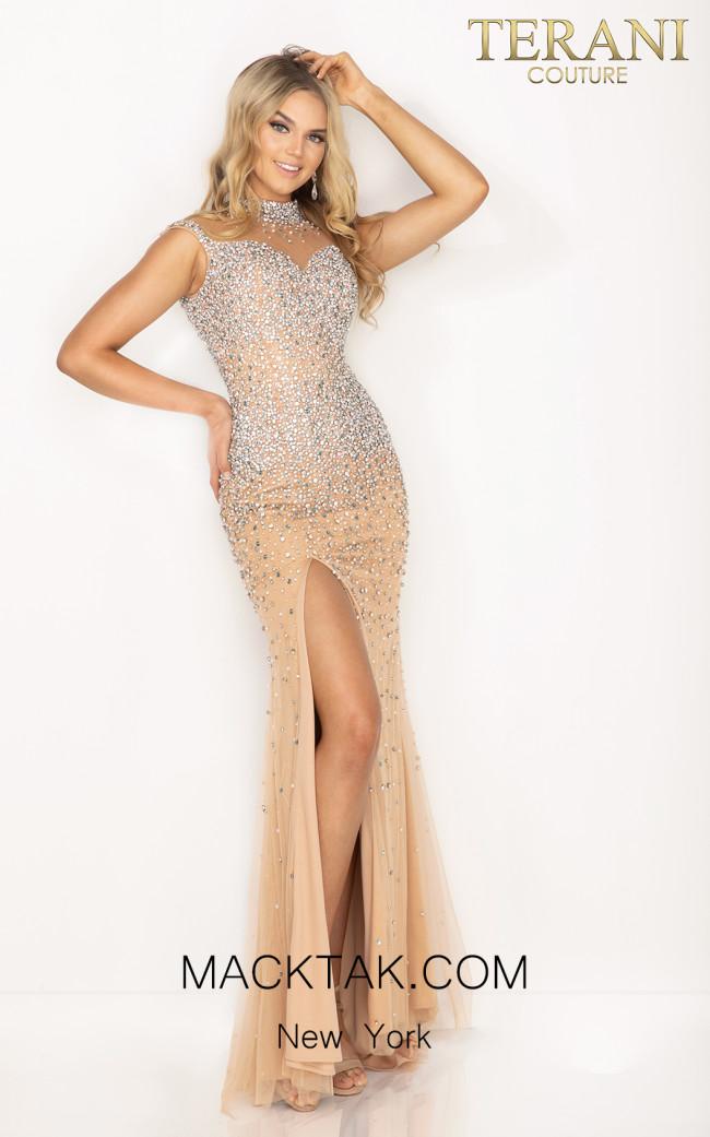 Terani 2011P1057 Multi Nude Front Dress