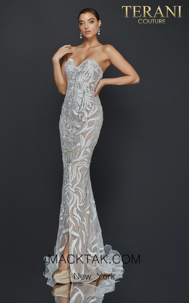 Terani 2011P1067 Ivory Nude Front Dress