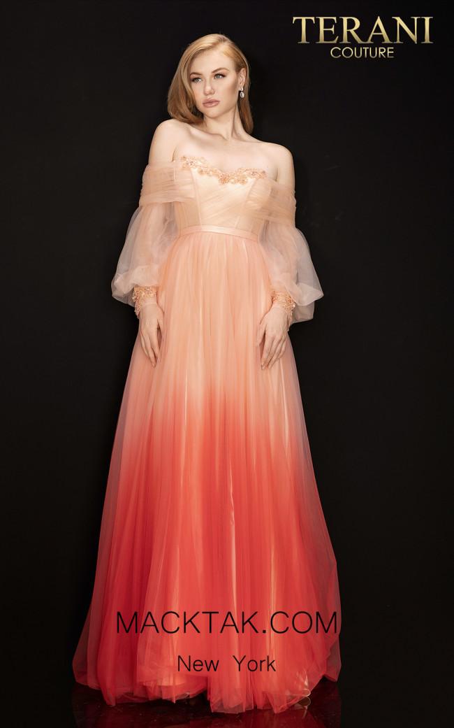 Terani 2011P1075 Peach Ombre Front Dress
