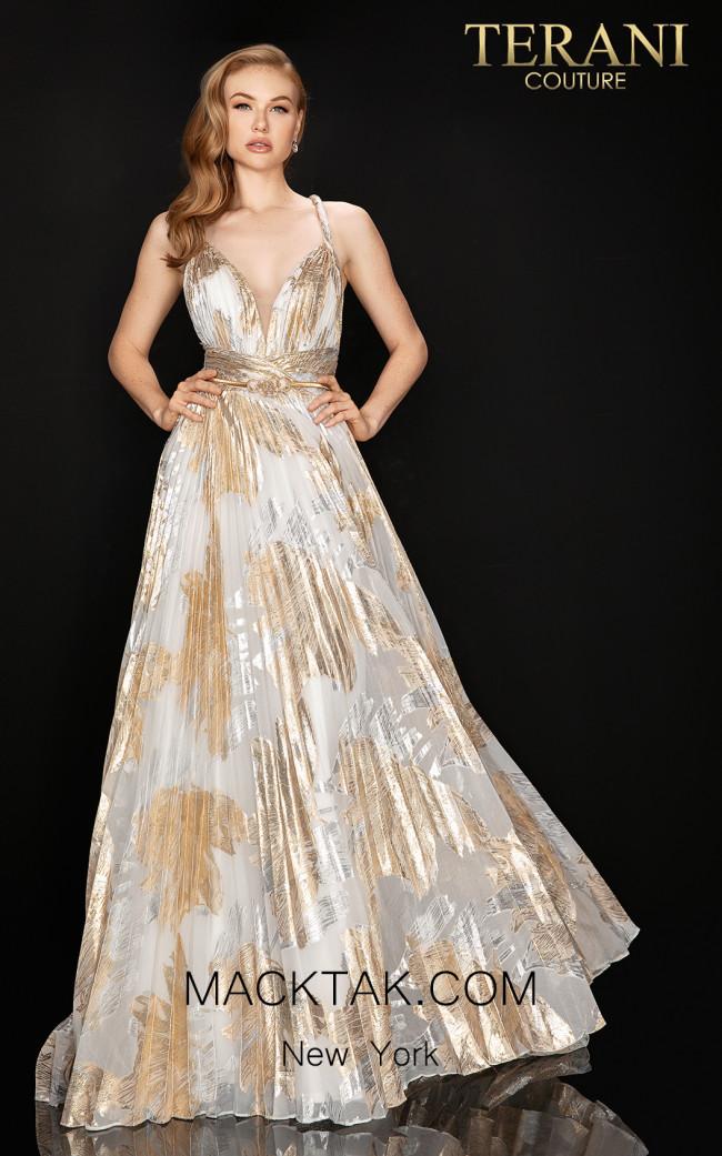 Terani 2011P1077 Ivory Gold Front Dress