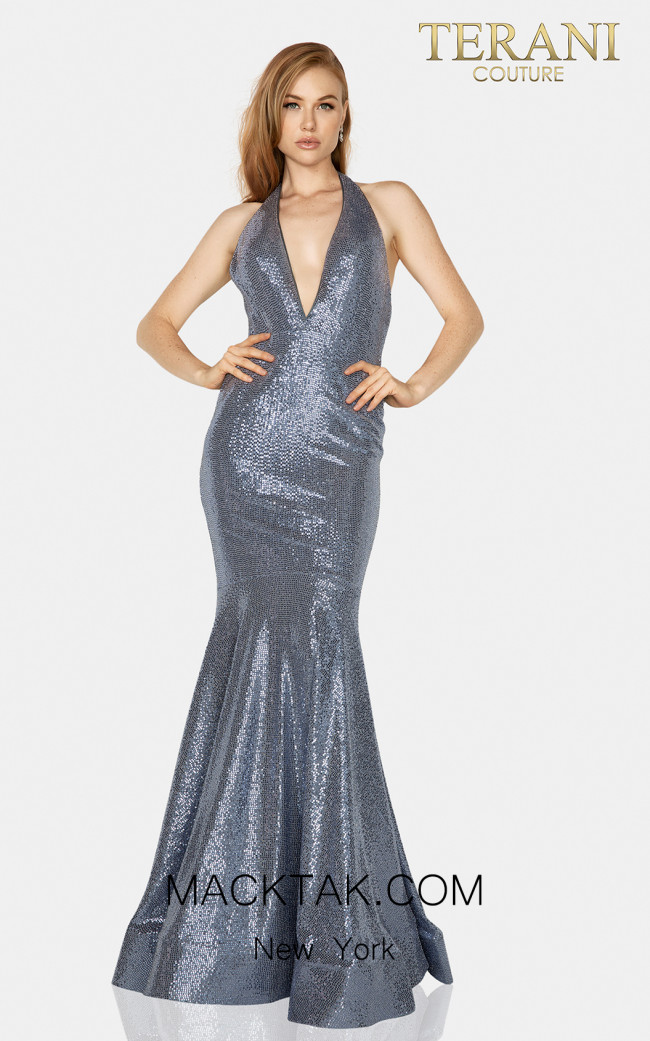 Terani 2011P1089 Metallic Navy Front Dress