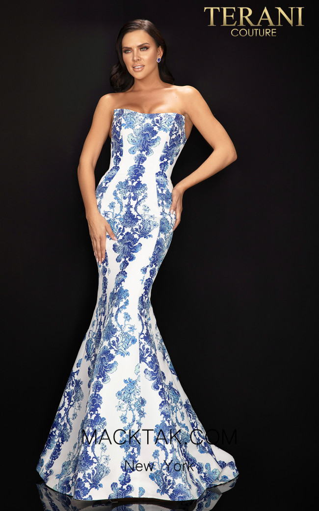Terani 2011P1112 White Blue Front Dress