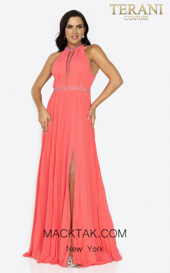Terani 2011P1115 Coral Front Dress