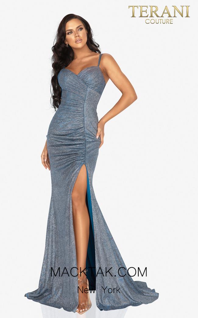 Terani 2011P1116 Royal Turquoise Front Dress