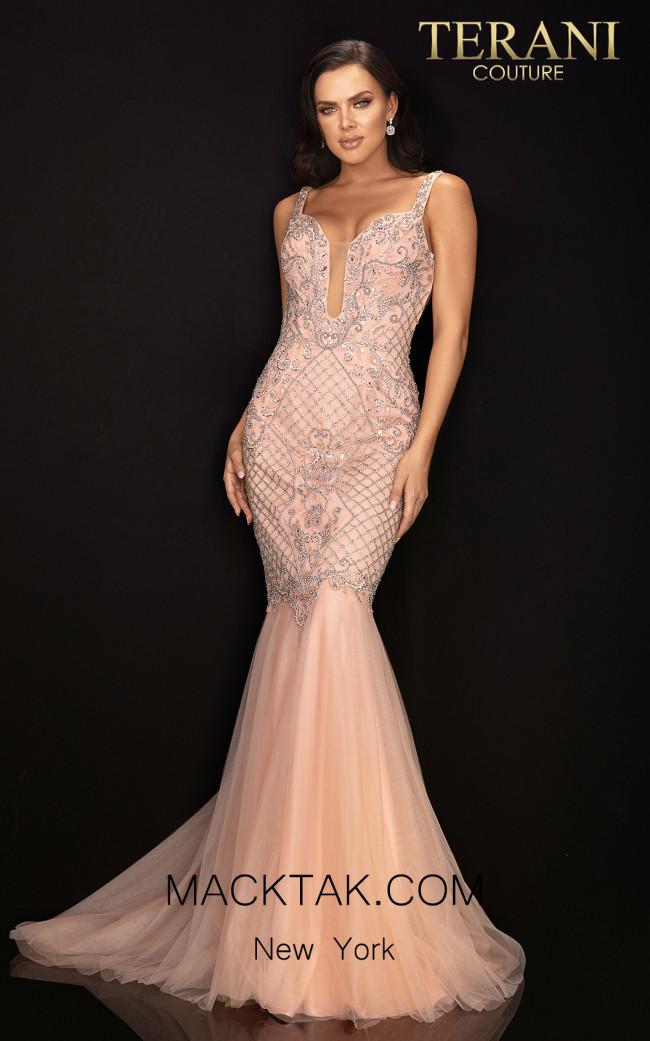 Terani 2011P1120 Blush Silver Front Dress