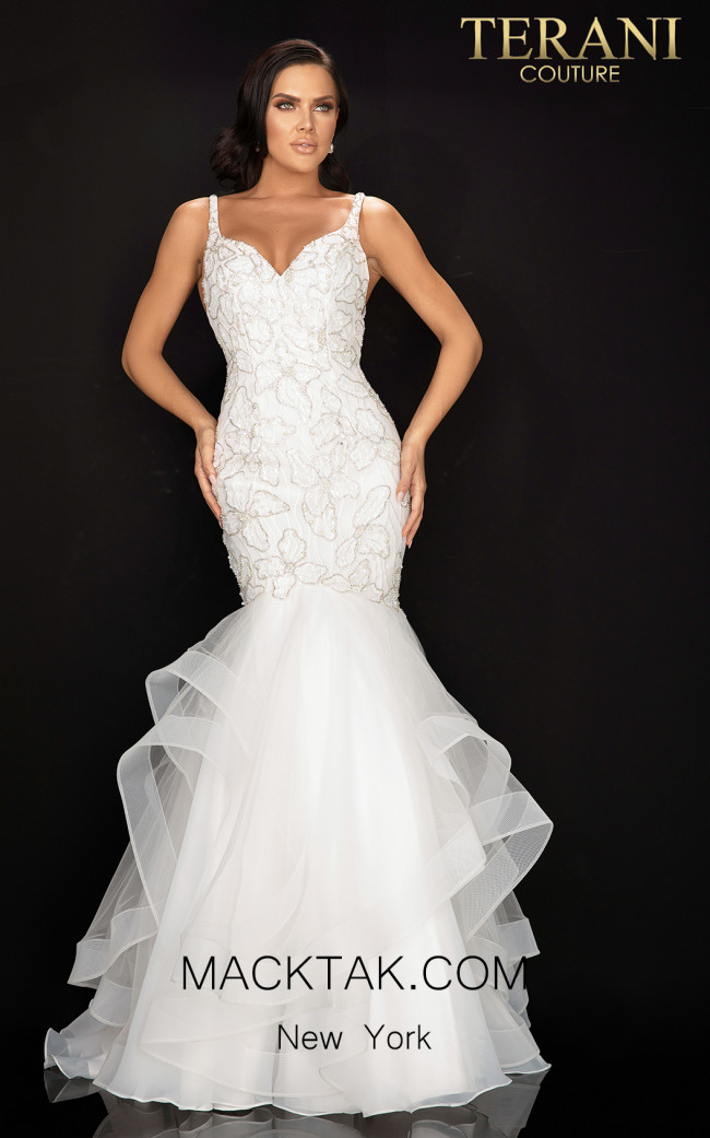 Terani 2011P1146 Ivory Front Dress
