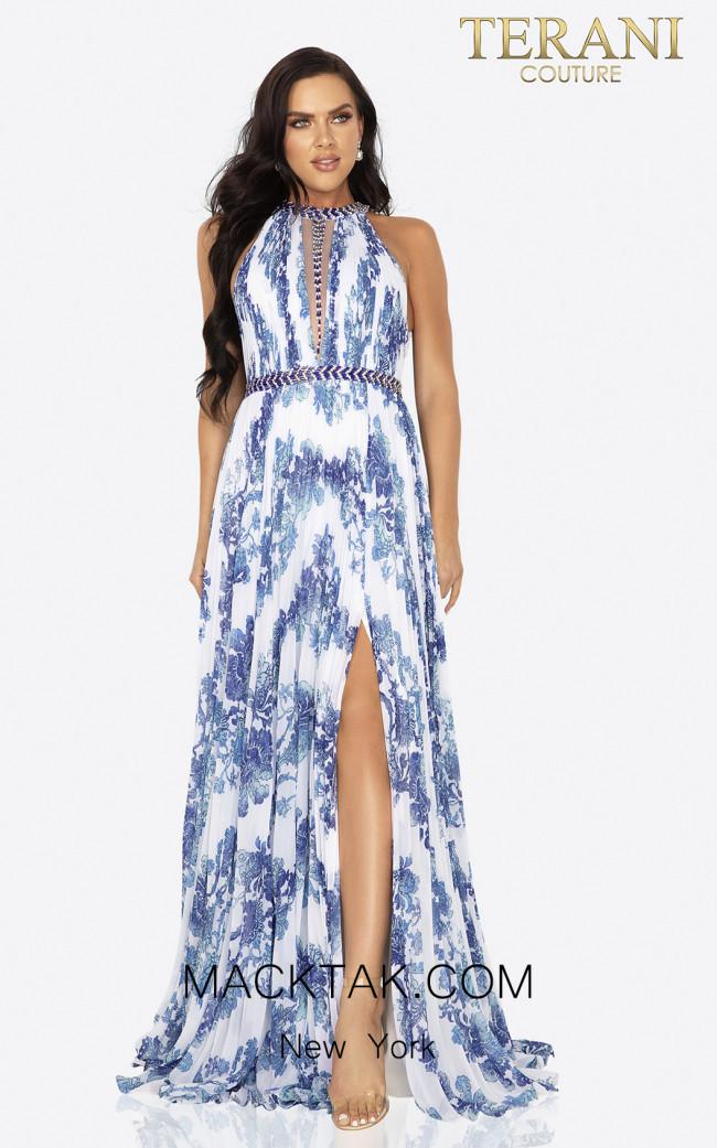 Terani 2011P1155 White Blue Front Dress